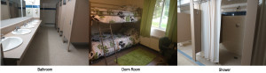 Dorms, Bathrooms, and Showers - modern summer camp facilities