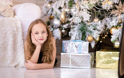 A Girl with Christmas Gifts