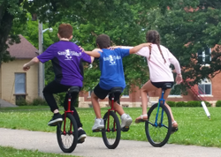 Summer Camp in America for French Campers on unicycles