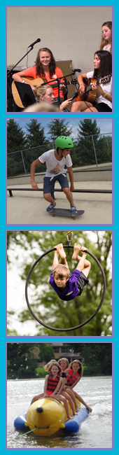 Kid's Camp in Owatonna Activities including music, extreme sports, circus arts, and water sports